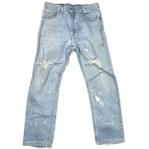 Levi's 505 Destroyed Ripped Punk Grunge 33Wx32L